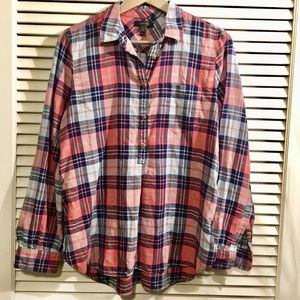 J. Crew Blue Pink Button Down Flannel Plaid Tall